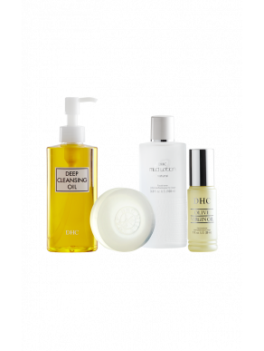 DHC Olive Essentials Set (Deep Cleansing Oil, Mild Soap, Olive Virgin Oil & Mild Face Lotion)