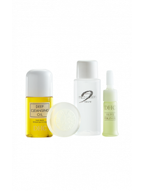 DHC Olive Essentials Travel Set (Deep Cleansing Oil, Olive Face Soap, Mild Lotion, Olive Virgin Oil)