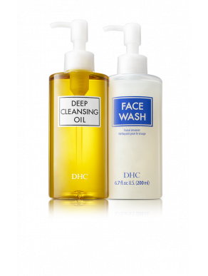 DHC The Purifying Double Cleanse Set - DHC Deep Cleansing Oil 6.7 fl oz & DHC Face Wash 6.7 fl oz