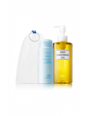 DHC The Exfoliating Double Cleanse Set - Deep Cleansing Oil, Face Wash Powder & Facial Foaming Mesh