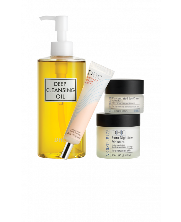 DHC Best-Selling Beauty Essentials Set - Skincare set with cleanser, primer, cream & eye cream
