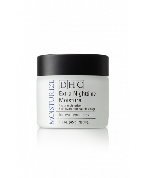 Extra Nighttime Moisture hydrates and moisturizes dry skin overnight with its collagen and antioxidant-rich olive oil formula.