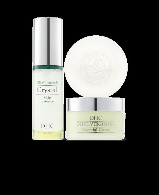 DHC Olive Virgin Oil Collection (Olive Soap, Olive Virgin Oil Cream & Crystal Skin Essence)