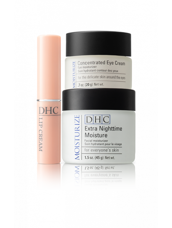 DHC All-Over Moisture Set (Extra Nighttime Moisture, Concentrated Eye Cream, Lip Cream)