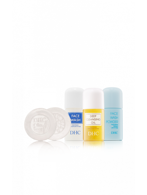 DHC Mini Cleansers Discovery Set - Face Wash, Cleansing Oil, Face Wash Powder, Olive Soap, Mild Soap