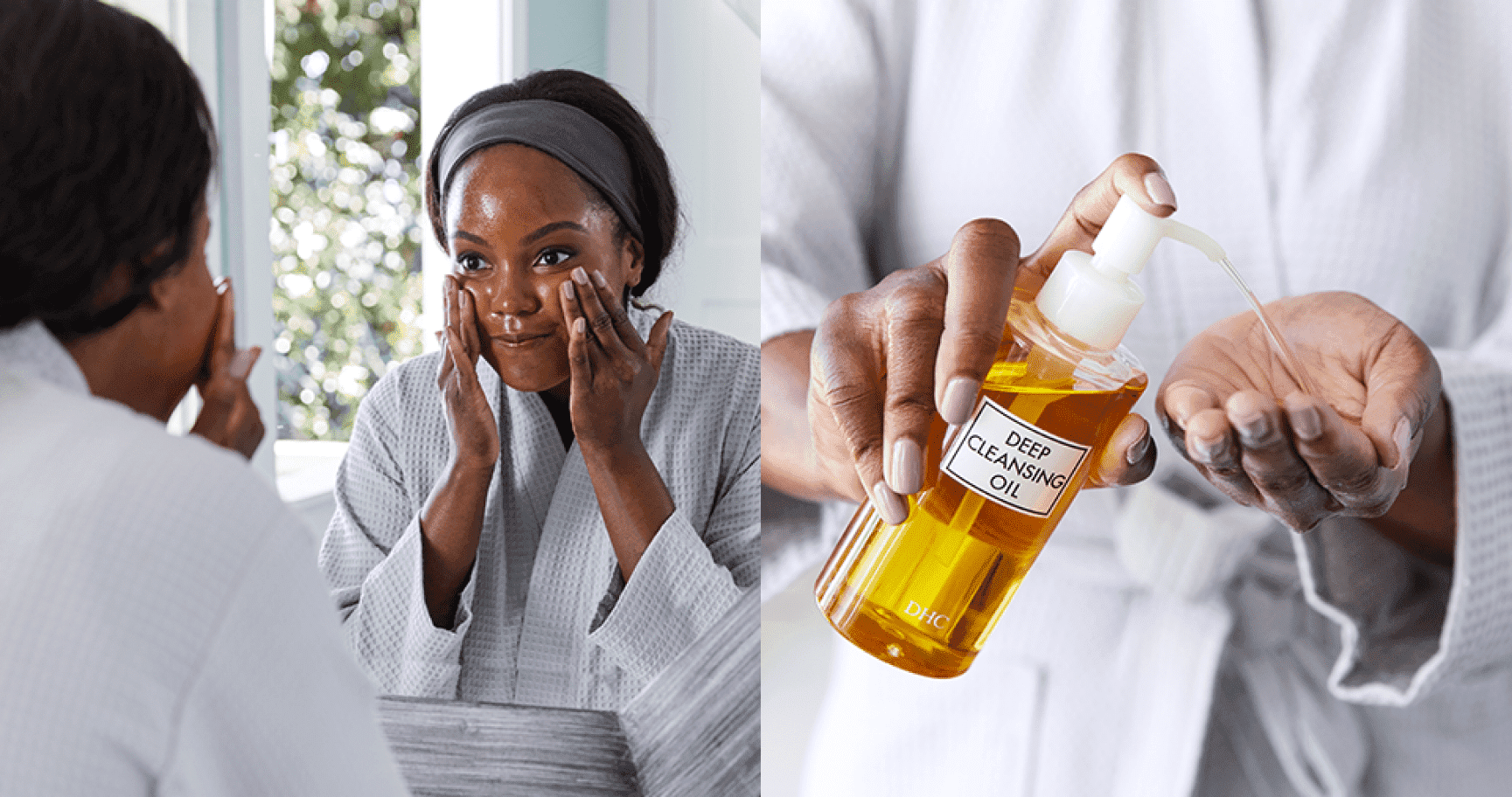 Woman washing face with DHC Deep Cleansing Oil oil face cleanser
