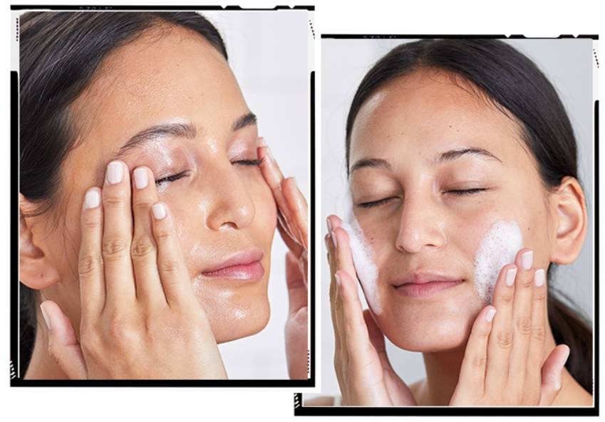 Japanes Double cleansing ritual - woman washing face with oil cleanser and foaming cleanser