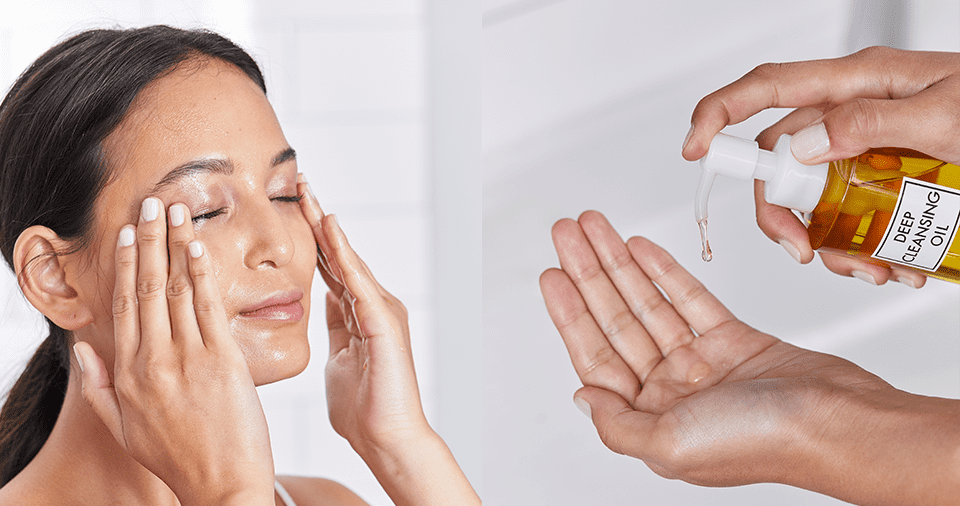 Double Cleanse Method Step 1 - Woman washing face with DHC oil cleanser