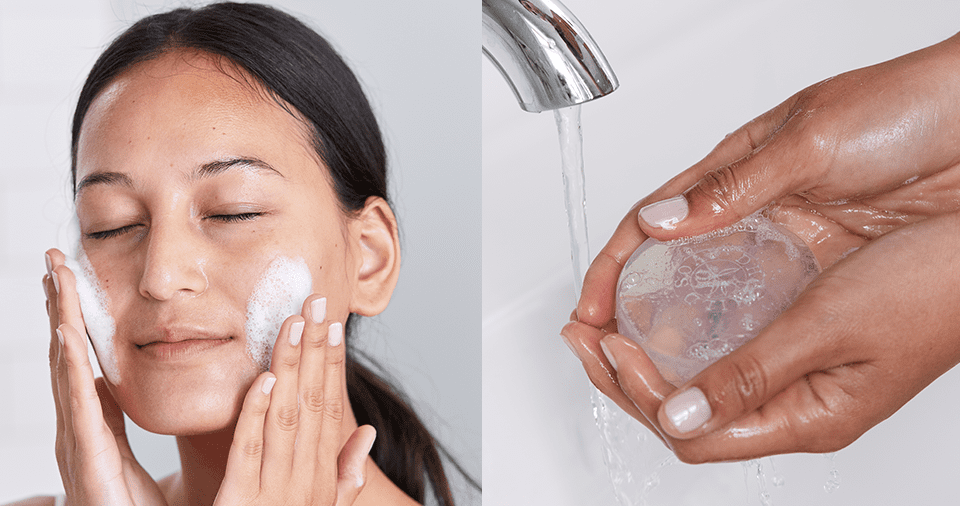 Double Cleanse Method Step 2 - Woman washing face with DHC mild soap
