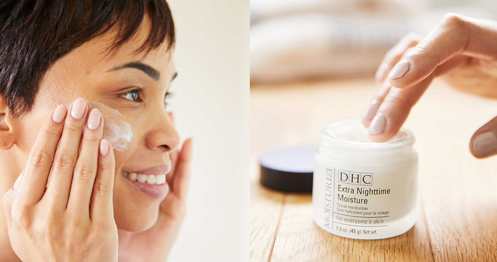 Double Moisture Method Step 2 - Woman moisturizing face with DHC Extra Nighttime Cream