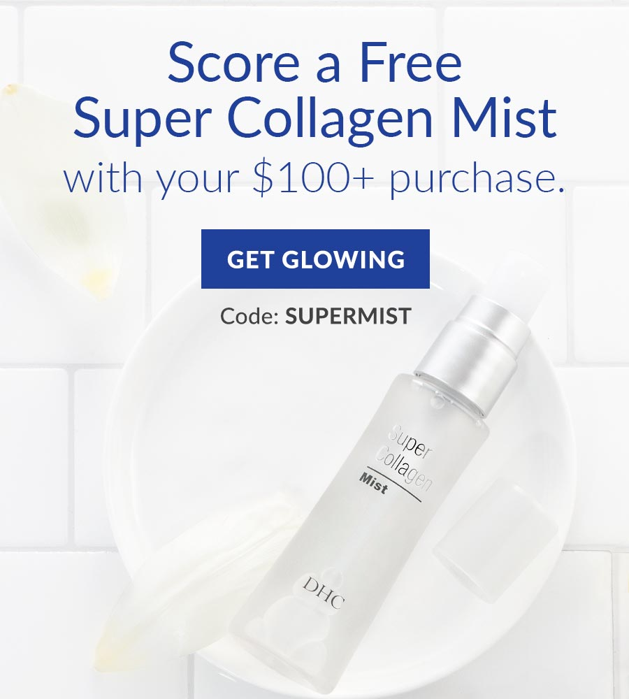 Score a Free Super Collagen Mist with your purchase of $100 or more. Use code SUPERMIST. Get glowing!